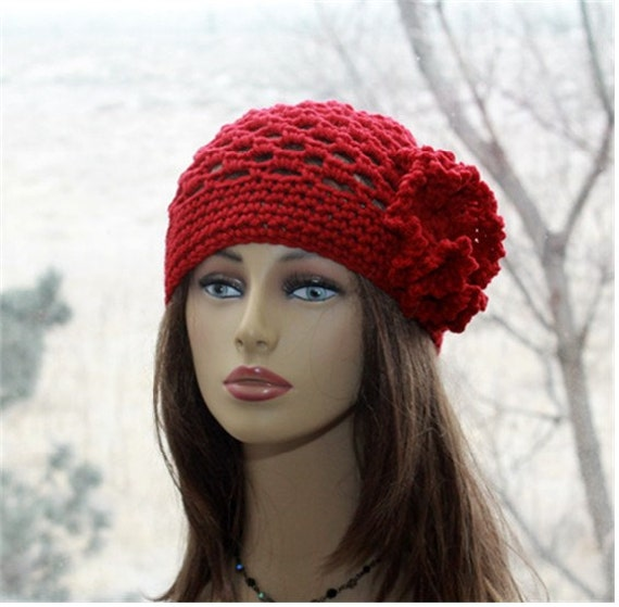 Crochet womens hat beanie 1920s style hat cranberry red