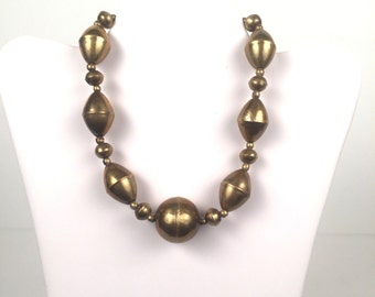 Vintage 1980s Large Brass Beaded Necklace