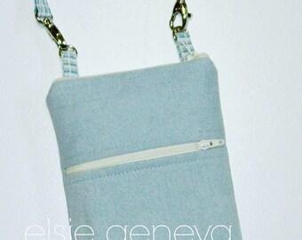 Solid Light Denim Blue & Hounds Tooth Plaid  Phone Case Wristlet  Zipper iPhone 5 6 Plus Note Samsung Galaxy HTC Aqua