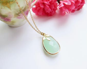 Mint Pear Necklace With Simple Leaf In Gold, Everyday Jewelry, Turquoise Teardrop Pendant, Long Necklace