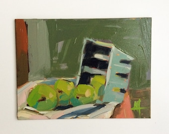 Basket of Greengage Plums original still life fruit oil painting by Angela Moulton 6 x 8 inch on panel prattcreekart