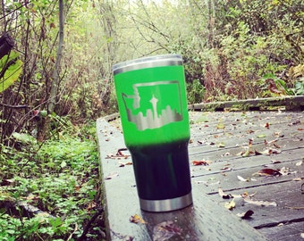 Custom Seahawks, Seattle skyline, Washington state green and blue ombre, powder coated and laser engraved RTIC, Yeti