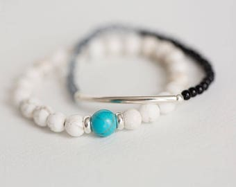 White and turquoise ball bracelet, Layering bracelet, Sterling silver bracelet, Layered Bracelet, turquoise Bracelet, Silver bracelet
