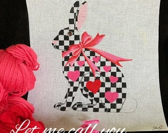 Needlepoint Valentine Rabbit - Pink and Red with Black and White Checks- Jody Designs  TH7