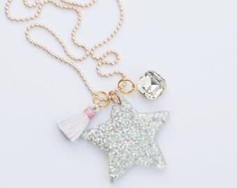 Girls star charm necklace. Twinkle twinkle little star jewelry