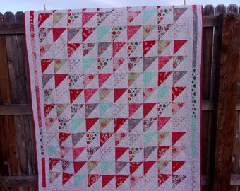 Cottage Charm Twin Size Quilt- Triangles Moda Handmade