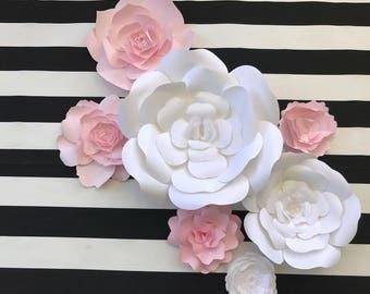Paper Flower Wall Decor, nursery wall art , pink paper flowers, giant paper flower, paper flower backdrop, pink wedding, paper flower decor