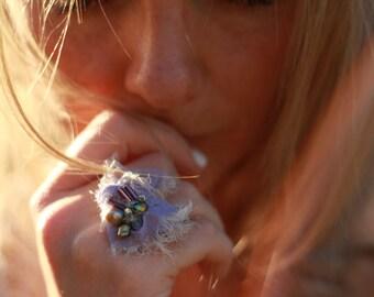 lilac gypsy ring, purple beaded boho ring, hippie beaded ring, violet statement ring, purple beaded ring, lilac festival ring