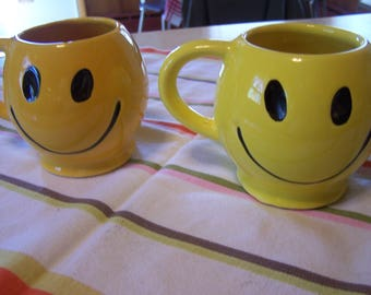 Vintage 1970s Smiley Face Coffee Mug, McCoy, Yellow and Black, Don't Worry Be Happy, Choose Yellow or Gold