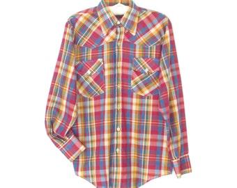 Plaid Western Shirt * Vintage 70s Men's Shirt * Kaleidoscope Plaid Shirt *