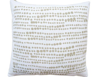 White Linen Pillow, sand beige circles, hand silk screened, 20 inch, or Lumbar 10x20, down insert included, exposed custom gold zipper