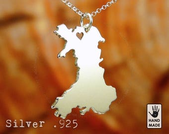WALES Map Handmade Personalized Sterling Silver .925 Necklace in a gift box