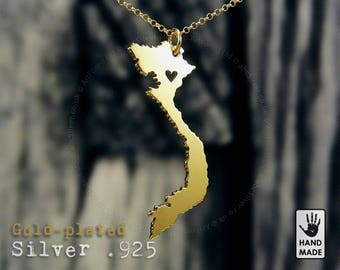 VIETNAM Map Handmade Personalized Goldplated Sterling Silver .925 Necklace in a gift box