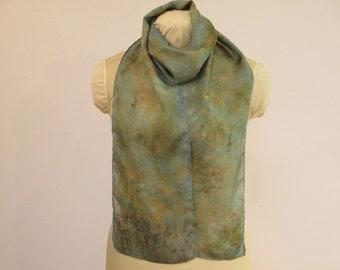 "Eco Fashion Silk Scarf - Nature Lover Gift - Indigo Blue-Green Brown -  HA8121606 - 8""x70"" (20 x 177cm)"