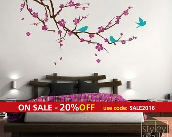 Cherry Blossom Branch and Birds Wall Decal, EXTRA LARGE Branch with Flowers Vinyl Wall Decal for Nursery Children Kids Room Decor