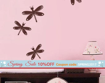 Dragonflies Wall Decal, Dragon Fly Wall Decal, Dragonfly Wall Sticker for Nursery Baby Room Decor, Dragonflies Girls Room Decor Wall Decal