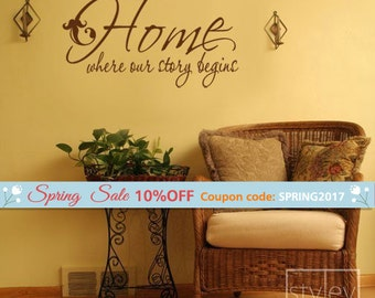 Home Wall Quote Decal, Home where our story begins-Vinyl Wall Decal Wall Lettering Decal, Home Wall Decal, Wall Quote Sticker for Home Decor