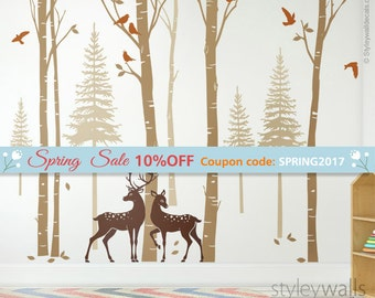Birch Trees Wall Decal, Forest Trees Wall Decal, Pine Trees Wall Decal, Winter Trees with Deer and Birds Wall Sticker for Living Room Decor