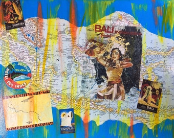 Bali and Indonesia Map Collage