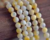 """Yellow Mother of Pearl Shell Smooth Round beads 8mm (#V1270)/15"""" Full strand"""
