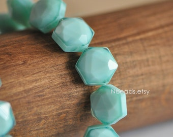 24pcs Faceted Hexagon Crystal Glass Beads 14x11mm, Candy Color Light Aqua (TS78-1)