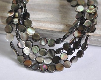 """Black Mother of Pearl Shell Round Coin Beads 10/ 12mm, Two Sided Coin Beads -(#V1179)/ 15.5"""" strand"""