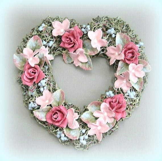 Wall Heart Decoration Clay Flower Heart Shabby Chic Heart Rose Heart Floral Heart Romantic Valentines Day Gift Mothers Day Gift Wedding Gift