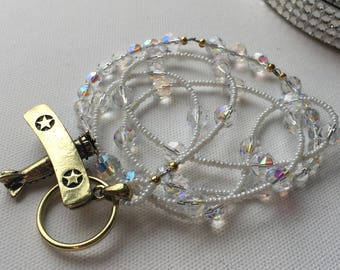 Golden Airplane ID Badge Lanyard with crystals perfect for flight crew and travel enthusiast