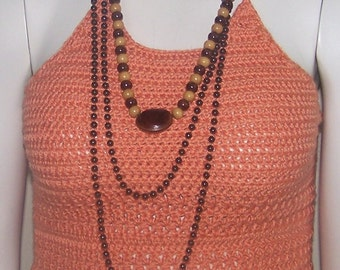 Crochet Halter, Summer Clothing, Women Cotton Halter, Ladies Top, Coral Halter, Tops and Tees, Women Clothing