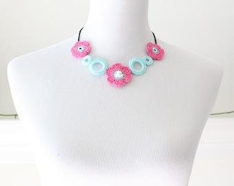 Aqua and Bright Pink Necklace