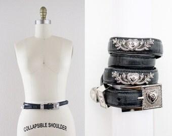 black leather silver heart belt