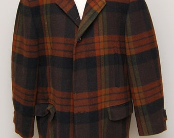 Vintage men's brown, green, rust plaid wool coat/ Vint men's plaid coat/ Pendleton