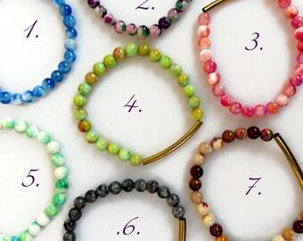 Colorful Beaded Bracelet, Stacking Bracelets, Jade Beaded Bracelet, Beach Boho Jewelry