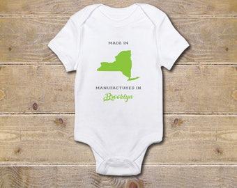 State Onesie, New York Onesie, Made In the USA, Brooklyn, Baby Shower Gift, USA, Brooklyn Onesie, Gender Neutral Onesie, New York, Graphic