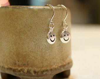 Smiley Face Dainty Sterling Silver Earrings