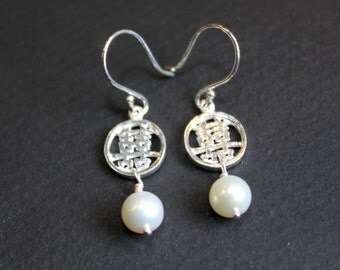 Double Happiness Pearl Silver Earrings