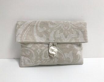 Natural Ivory Bridesmaid Gift, Damask Makeup Bag, Makeup Bag with Button