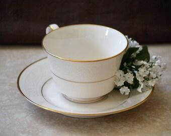 Ivory China Tea Cup and Saucer Set/Noritake Tulane Cup and Saucer Set/Tea Cup Set/1967-1987