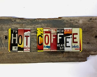 HOT COFFEE recycled license plate art sign for your saloon coffee shop restaurant barn play place tomboyART tomboy
