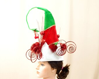 Vintage Christmas Hat,  Elf Hat, Mistletoe Hat, Kiss Me Hat, Whimsical Hat, Kitchy Christmas Hat, Red and Green Hat, Santa Hat