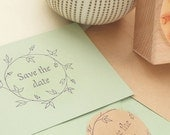 Save the date stamp, Wedding rubber stamp, floral wreath stamp, floral rubber stamp, Wedding Favor Stamp