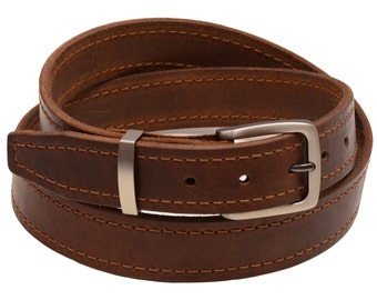 """Men's 1 3/8"""" Walnut Re-Tanned Leather Belt Brown Decorative Stitching Natural Edge Square Tip Matte Buckle And Loop Set Made In America"""