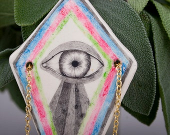 Third Eye Necklace, Ceramic Pendant, Tribal Jewelry, Pencil Drawing, Air Dry Clay, Schmuck, Spiritual, Porcelain, Rhombus, Geometric, Art