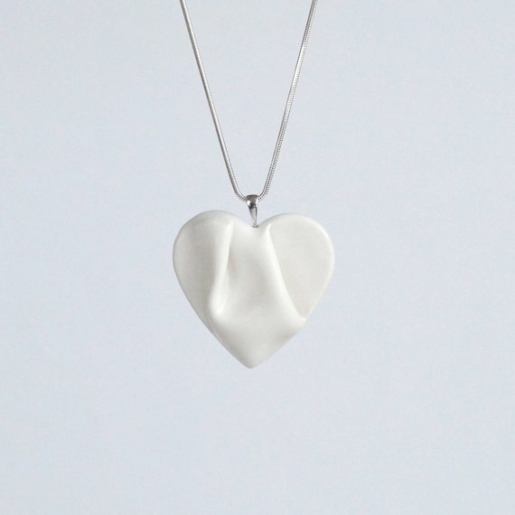 Work of HEART white sculpted porcelain necklace sterling silver snake chain, ceramic jewellery, satin white ceramic glaze, gift box