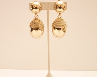 Vintage Gold Dangling Earrings with Mesh Trim - 2 1/2 Inches