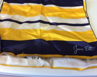 Vintage Italian Designer Scarf by Jean Ete, Navy Blue, Yellow, White, Stripes, Fringe , Long Scarf