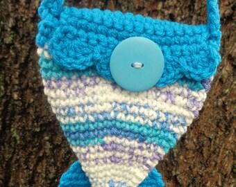 Mermaid Tail Purse, Crochet Ocean Theme Handbag, Minature Bride Gift, Little Handbag for a Special Little Girl By Charlene, Gift for Girl
