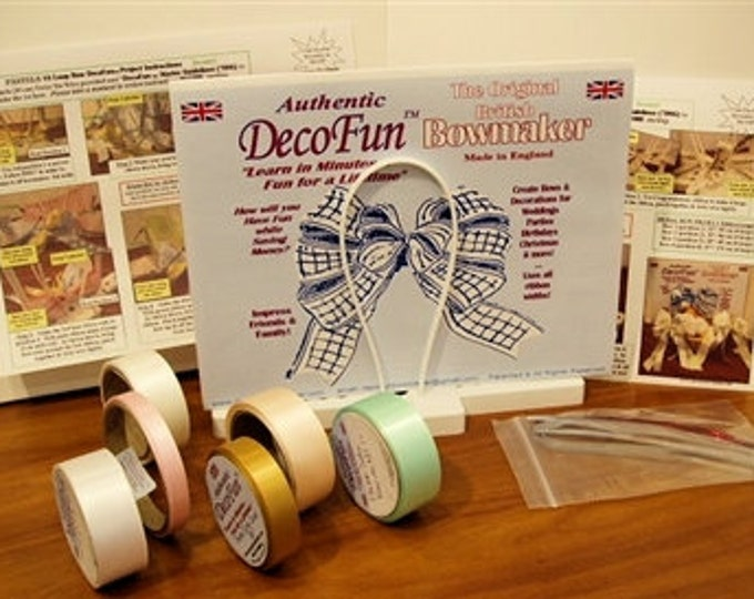 "DecoFun Bow Maker Vintage ""Shabby Chic"" Deluxe Starter Kit- DIY beautiful, easy & quick beautiful ribbon bows in minutes."