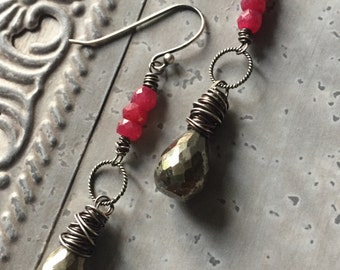 Boho Ruby and Pyrite Dangle Earrings - Sterling Silver and Gemstine Earrings