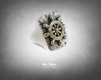 Ship Wheel  signet ring Solid Silver Sterling 925 by EZI ZINO